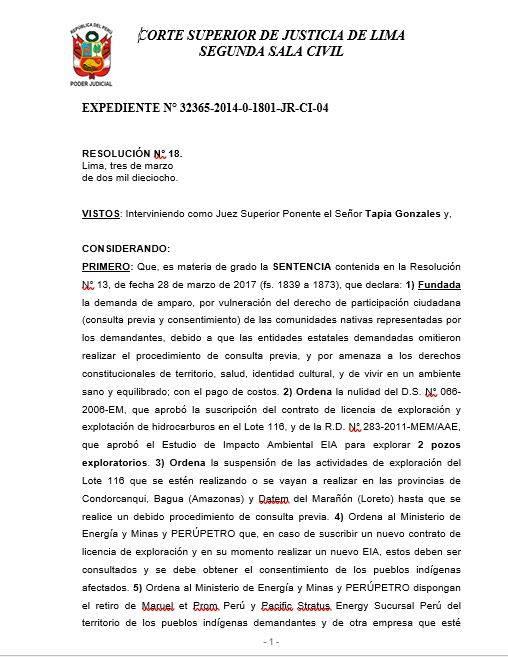 Confirmado: Se suspende Lote 116 por no haber sido consultado | Servindi - Servicios de Comunicación Intercultural